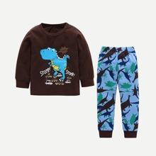 Kleinkind Jungen Top mit Dinosaurier, Buchstaben Muster und Hosen