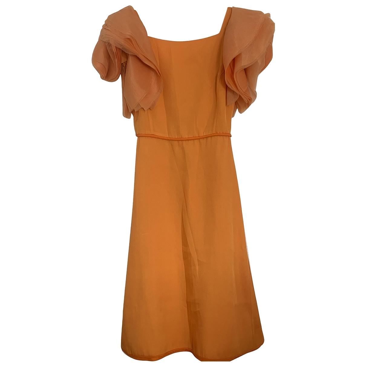 Mila Schon Concept \N Kleid in  Orange Seide