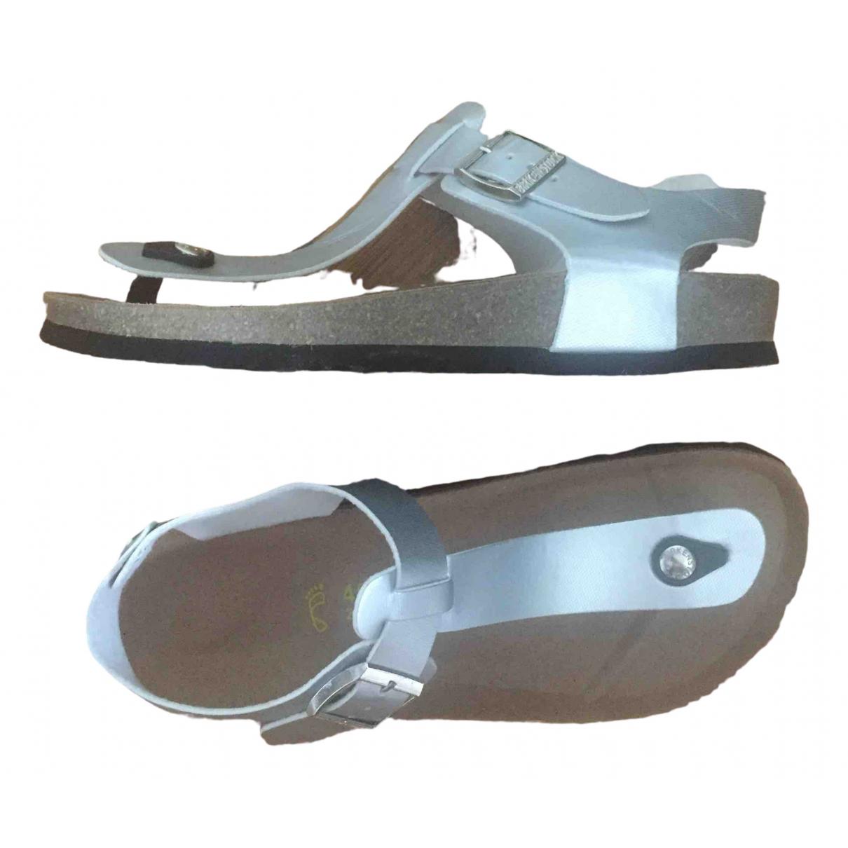 Birkenstock \N Sandalen in  Silber Leder