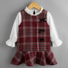 Toddler Girls Frill Trim Blouse & Plaid Tweed Dress