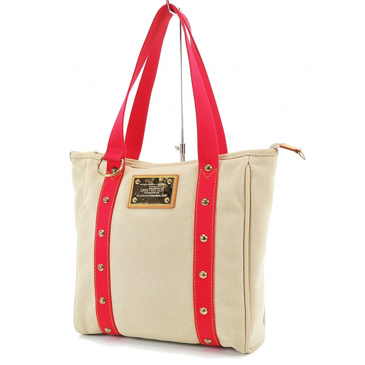 Louis Vuitton - Sac a main Antigua pour femme en cuir - beige