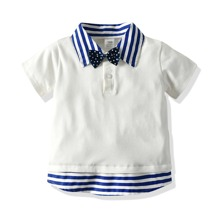 Toddler Boys 2 In 1 Bow Tie Striped Polo Shirt