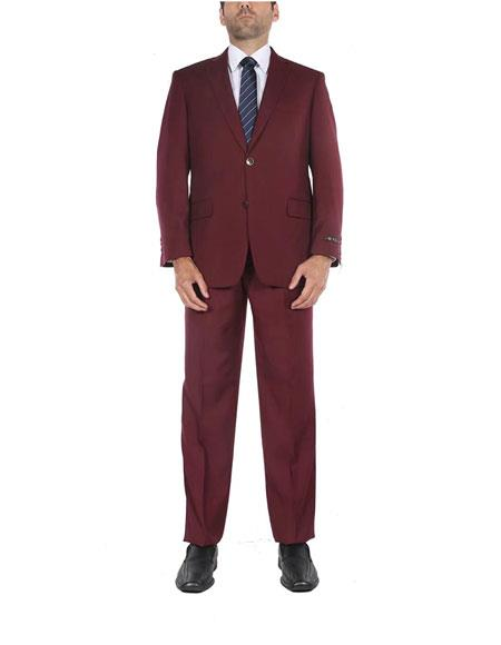 Mens Classic Fit Burgundy 2 Button 1Breasted Two-Piece Side Vents Suit