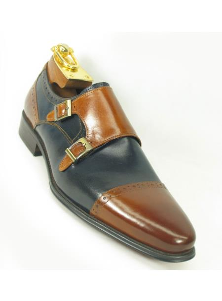 Carrucci Men's Brown/Navy Two Tone Burnished Monk Strap Style Shoe