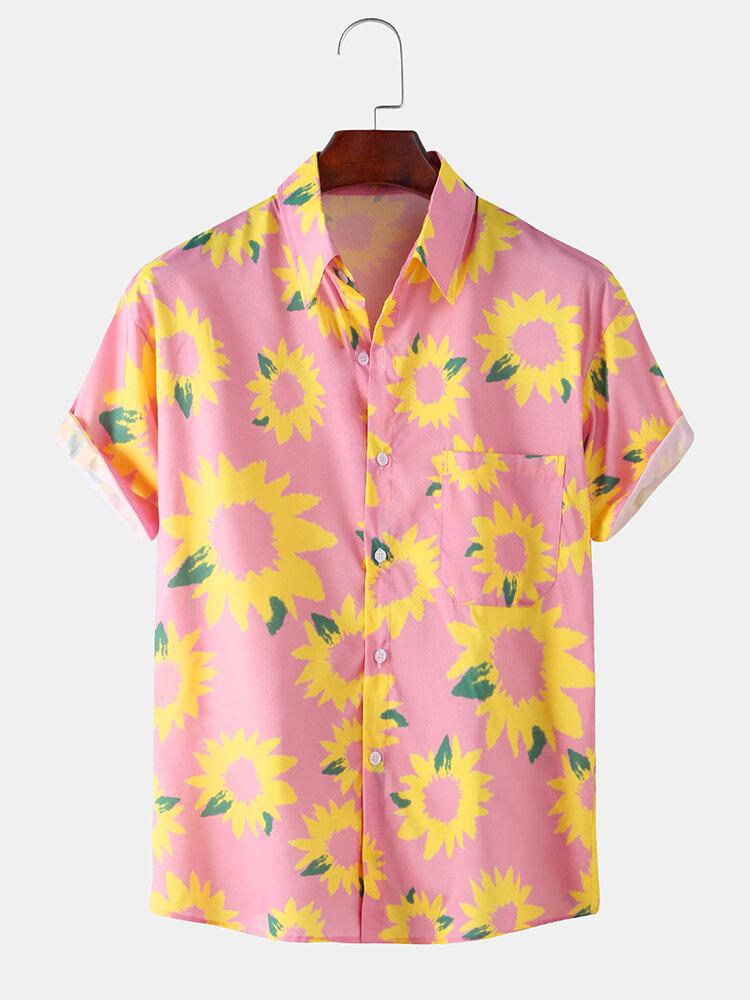 Sunflower Printed Basic Casual Loose Short Sleeve Shirt