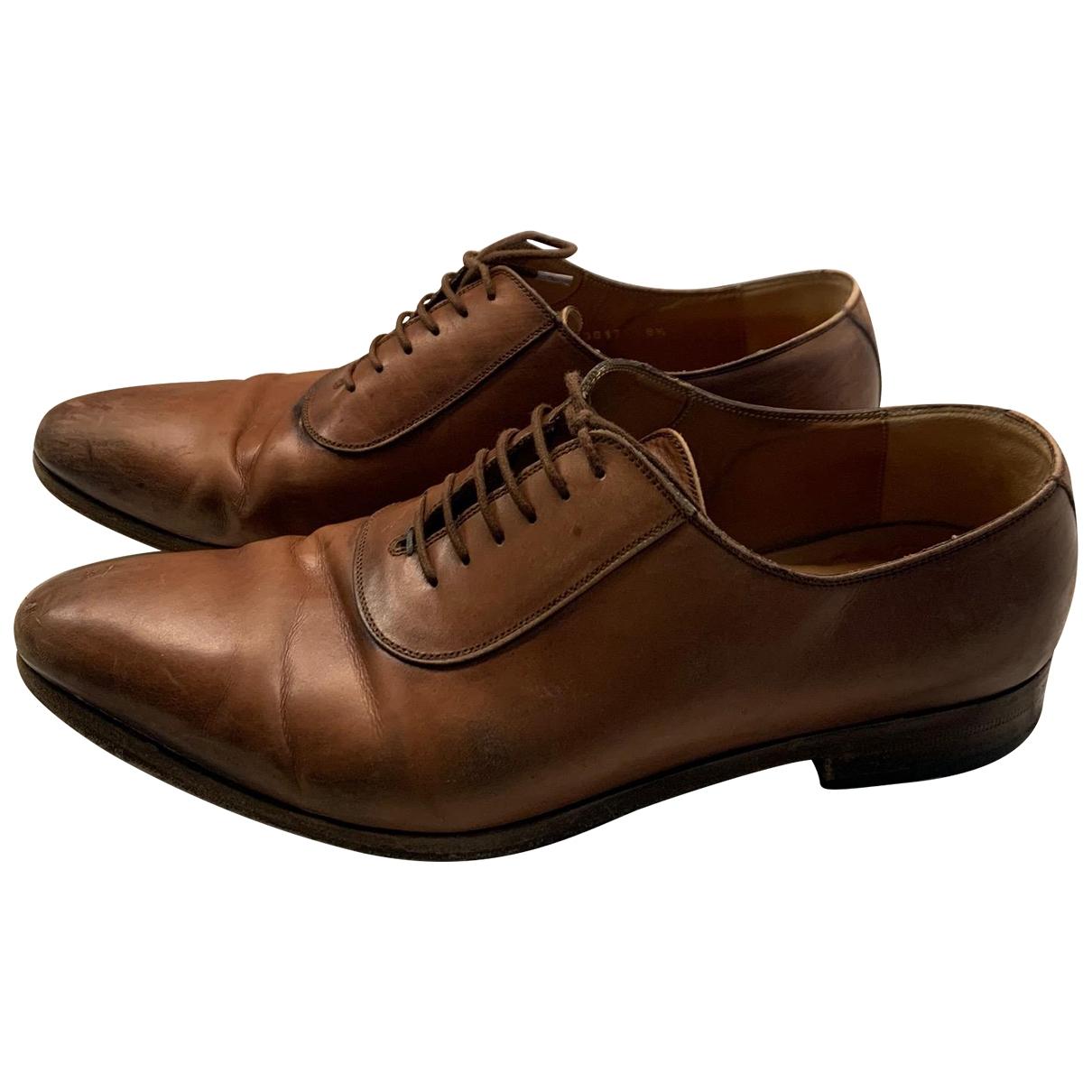 Gucci - Derbies   pour homme en cuir - marron