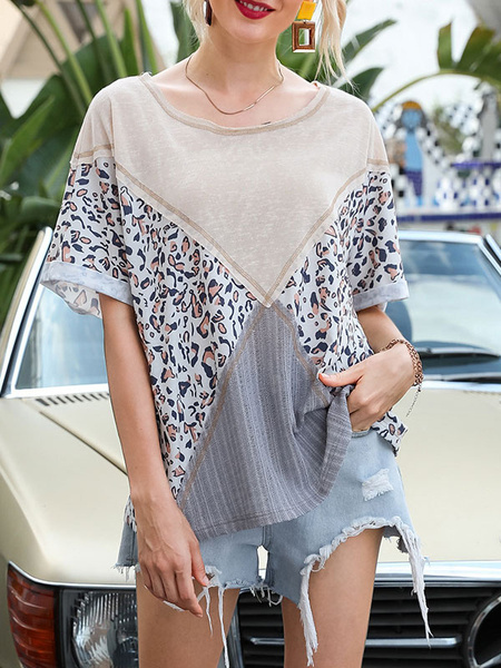 Milanoo Oversized T Shirt Short Sleeves Tees Leopard Print Patchwork Summer Tops