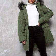 Mantel mit Kordelzug um die Taille, Kontrast Kunstpelz und Kapuze