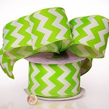 Polyester Lime Chevron Satin Wired Ribbon - 2-1/2 X 20 Yards - Polyethyleneester by Paper Mart