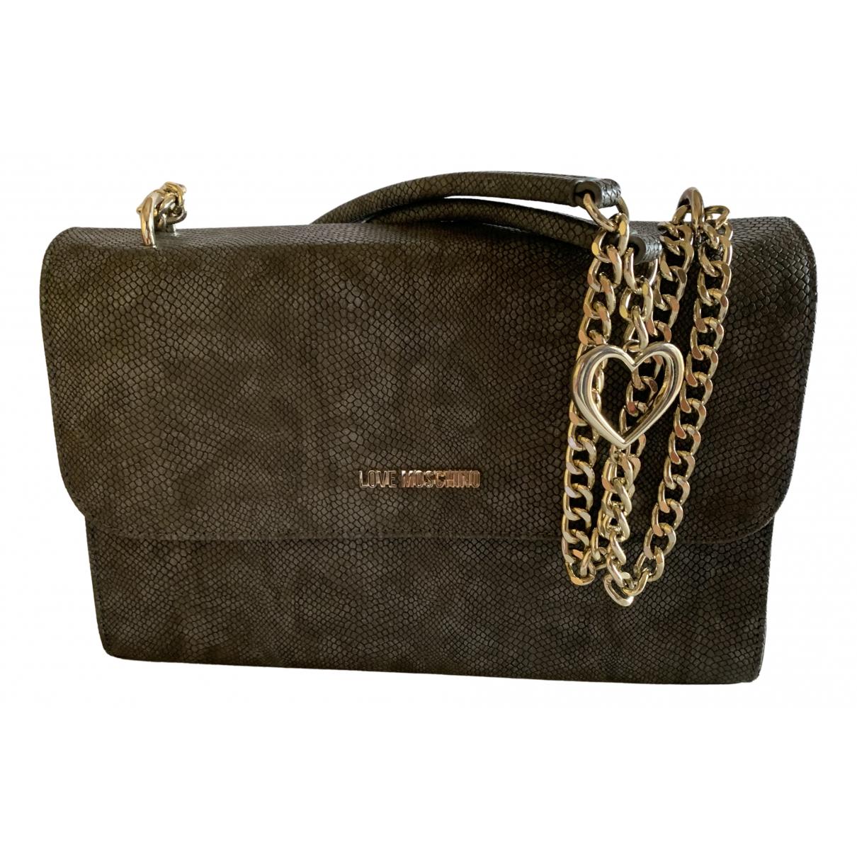 Moschino Love \N Handtasche in  Grau Leder