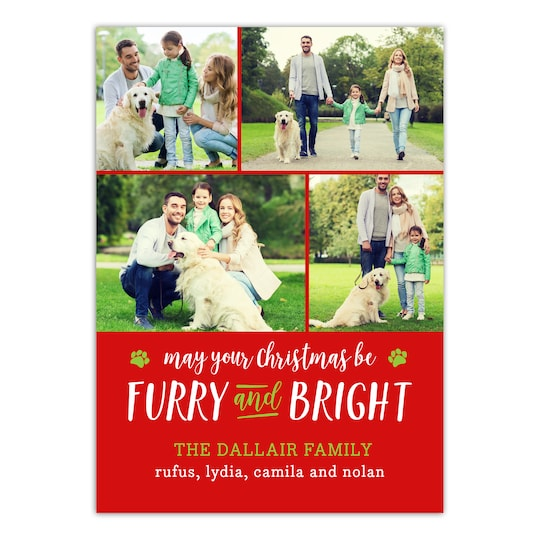 20 Pack of Gartner Studios® Personalized Furry And Bright Flat Pet Holiday Photo Card in Red | 5 x 7 | Michaels®