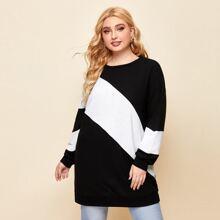 Plus Drop Shoulder Two Tone Sweatshirt