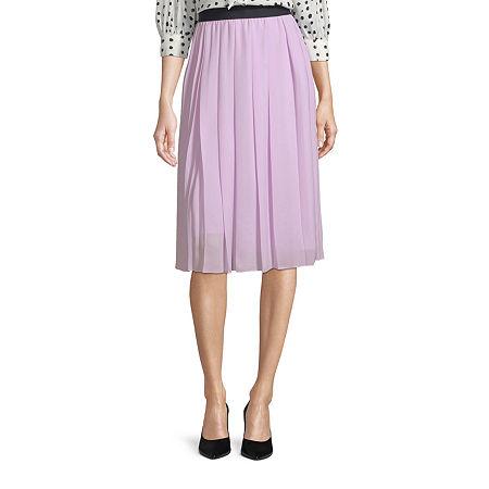Worthington Womens High Rise Midi Asymmetrical Skirt, Large , Purple