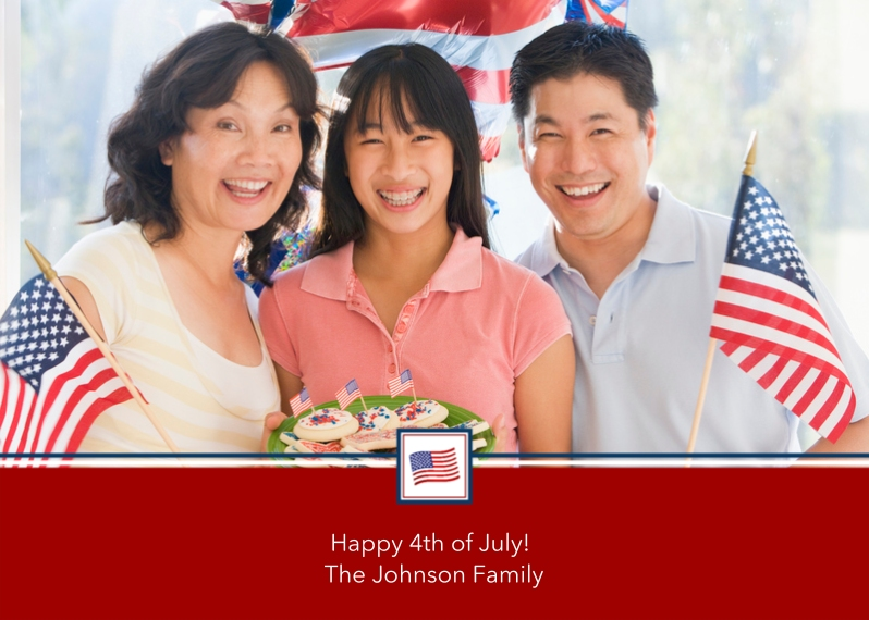 4th of July Photo Cards 5x7 Cards, Standard Cardstock 85lb, Card & Stationery -Patriotic Postage