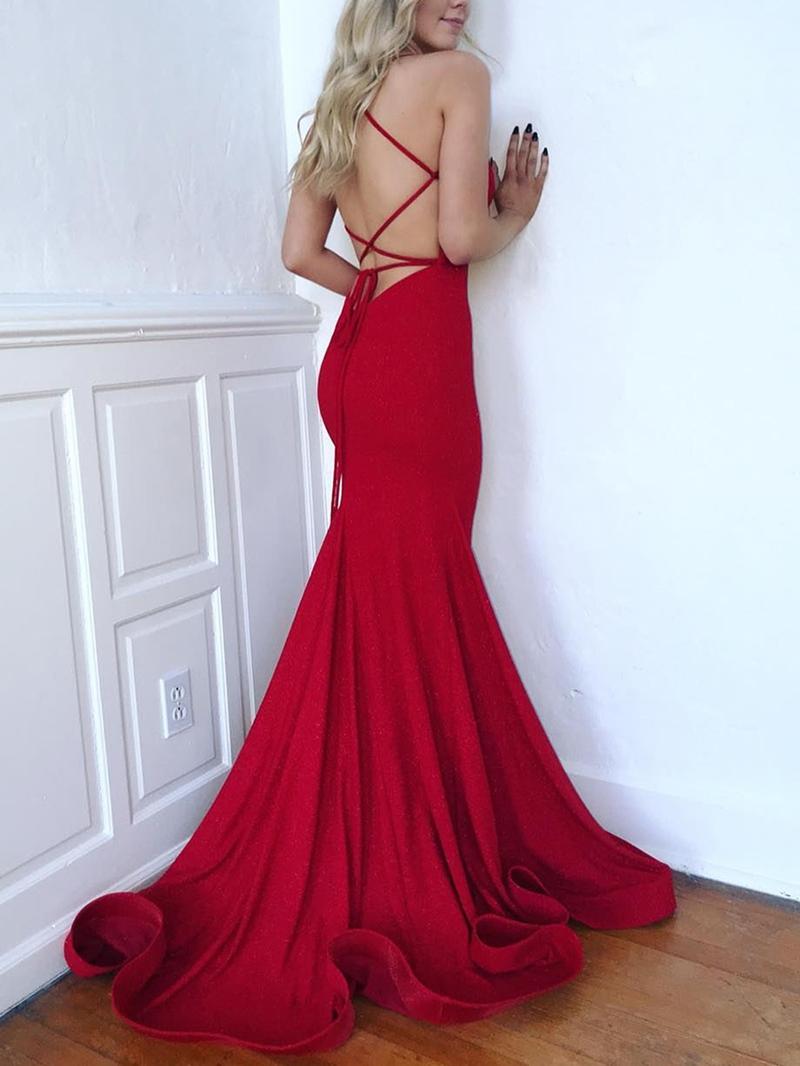 Ericdress Spaghetti Straps Mermaid Evening Dress