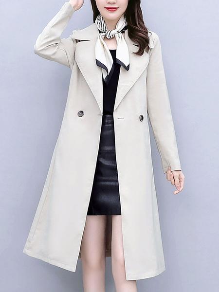 Milanoo Abrigo de mujer Cuello vuelto con cordones Reloj de color informal Abrigo de invierno negro
