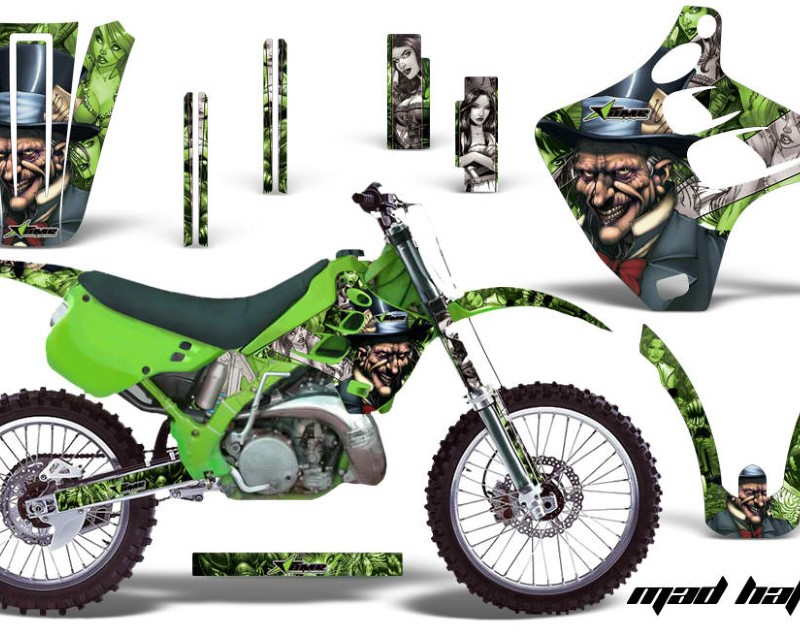 AMR Racing Dirt Bike Graphics Kit Decal Wrap For Kawasaki KX125 | KX250 1990-1991áHATTER SILVER GREEN