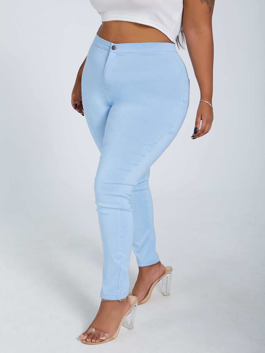 LW Lovely Casual Zipper Design Blue Plus Size Jeans