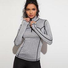 Tape Panel Thumb Holes Sports Sweatshirt