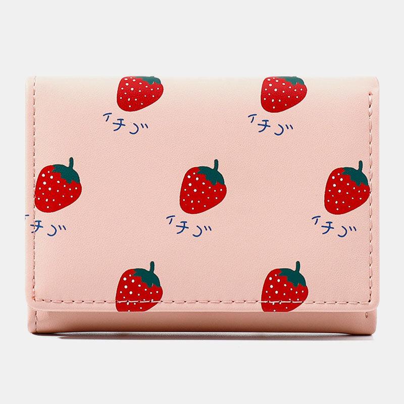 Women 7 Card Slots Trifold Fruit Printed Wallet