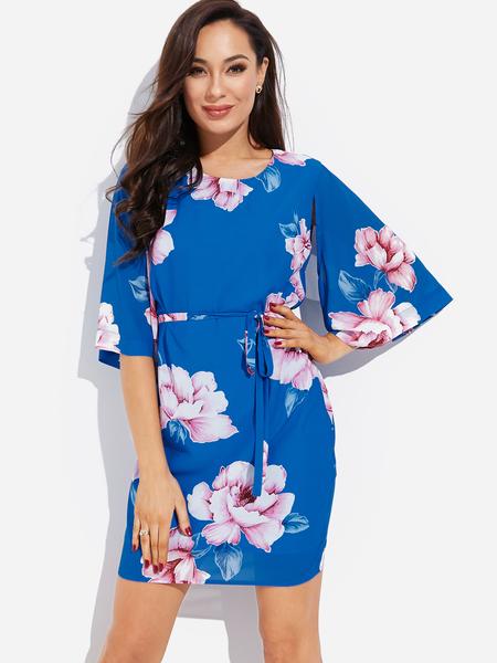 Yoins Blue Self-tie Design Random Floral Print Round Neck Slit Flared Sleeves Dress