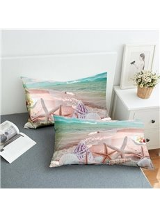Starfish And Shells By The Sea Reactive Printing 2-Piece Polyester Pillowcase