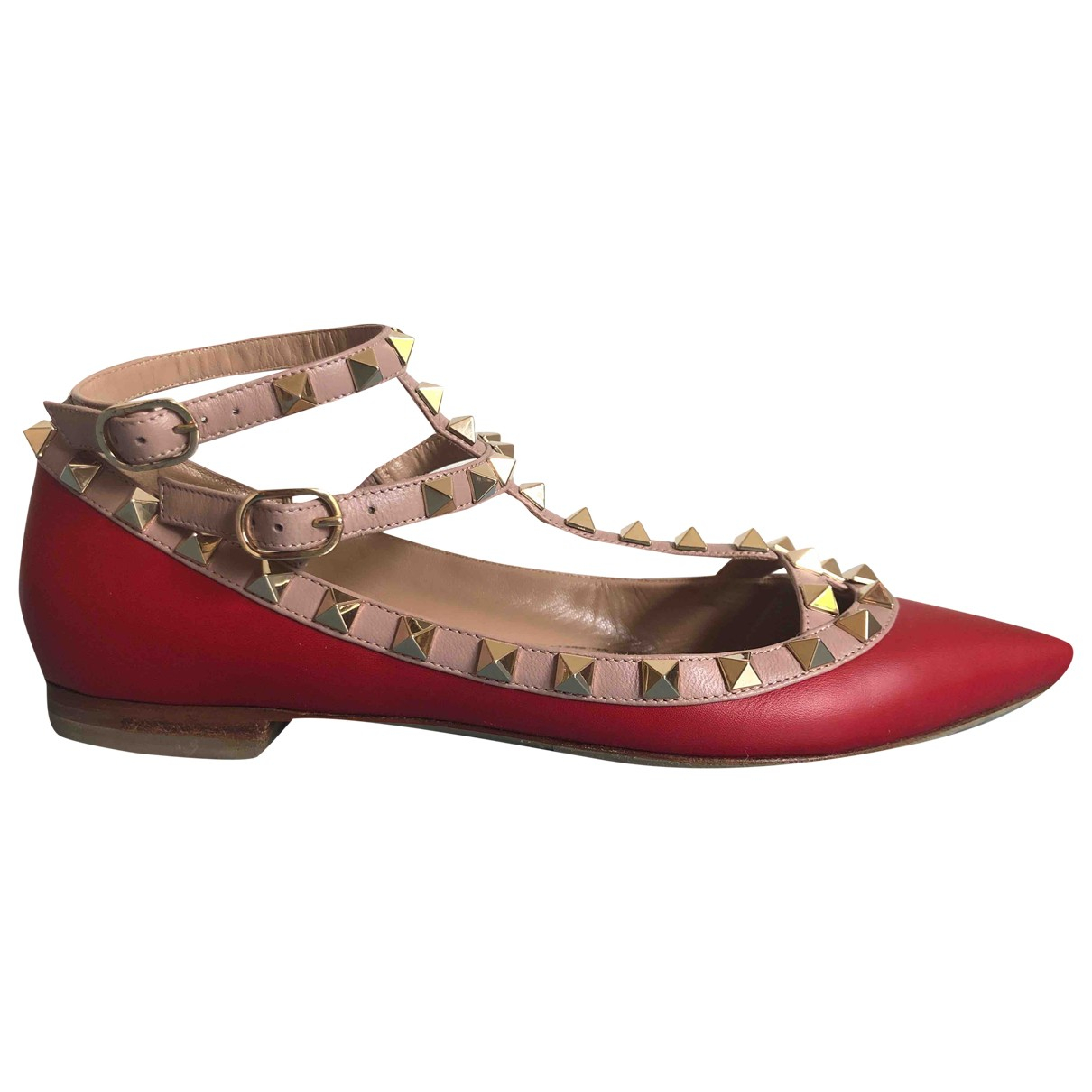 Valentino Garavani Rockstud Red Leather Ballet flats for Women 37 EU