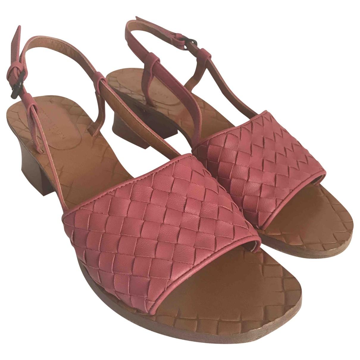 Bottega Veneta \N Pink Leather Sandals for Women 37 EU