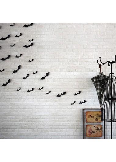 12pcs Halloween Bat Black Stickers - One Size