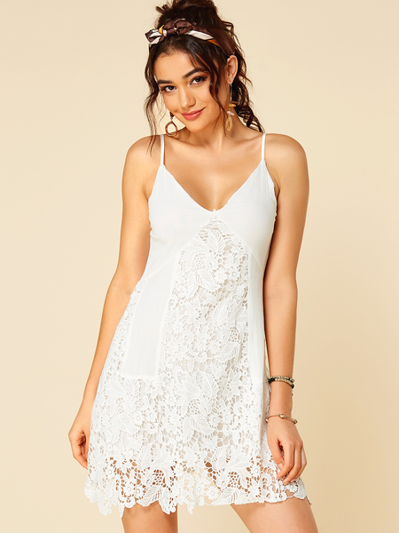 Yoins White Lace Insert V Neck Mini Dress With Adjustable Shoulder Straps