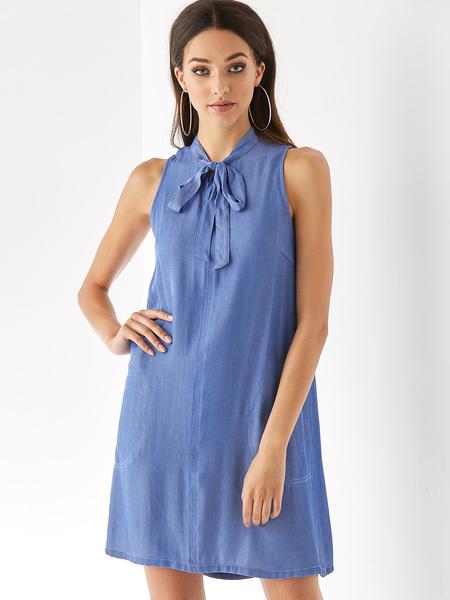 YOINS Light Blue Bowknot Cold Shoulder Sleeveless Dress