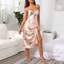 Crane Print Split Thigh Satin Night Dress