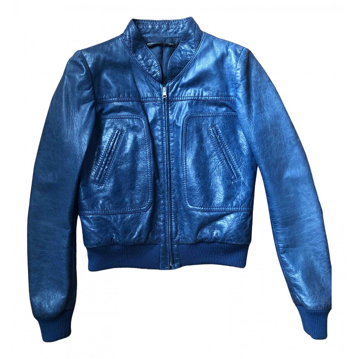 Balenciaga \N Lederjacke in  Blau Leder