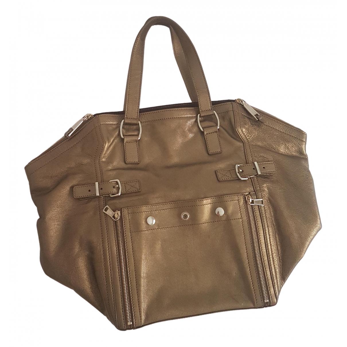 Yves Saint Laurent Downtown Gold Leather handbag for Women \N