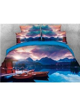 Vivilinen 3D Lakeview and Mountain Printed Cotton Blue 4-Piece Bedding Sets/Duvet Covers