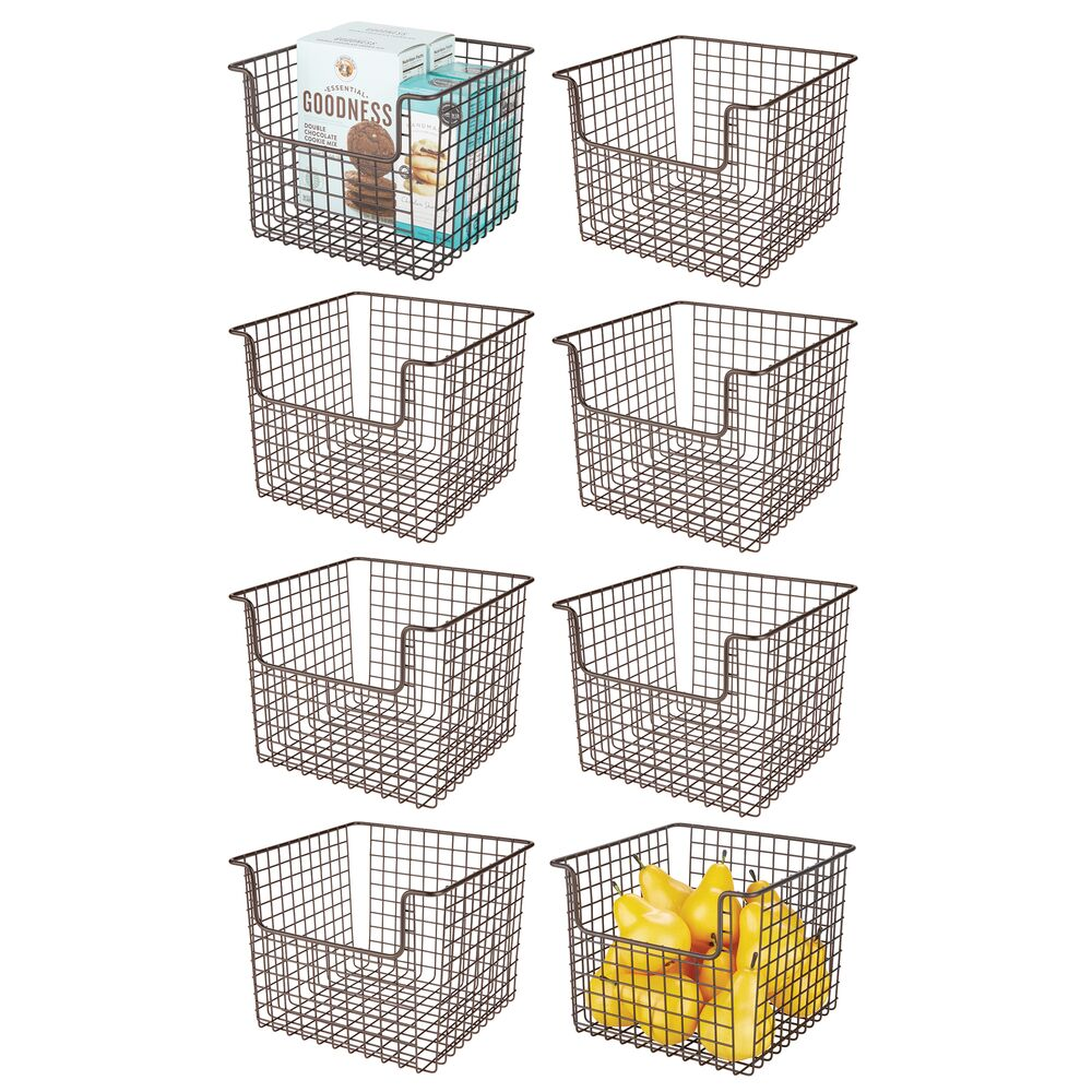 mDesign Metal Wire Kitchen Pantry Food Storage Basket in Bronze, 10