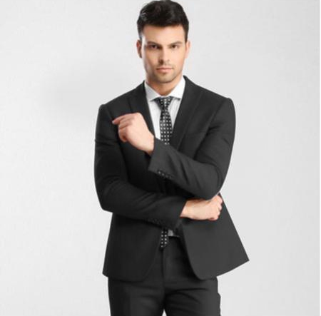 Mens Dark Gray 1 Button Single Peak Slim Fit Suit with Flat Front Pant