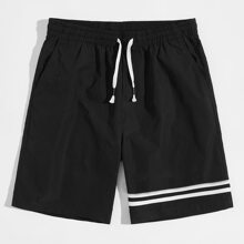 Men Striped Drawstring Waist Track Shorts