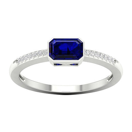 Womens Diamond Accent Genuine Blue Sapphire 10K Gold Cocktail Ring, 7 1/2 , No Color Family