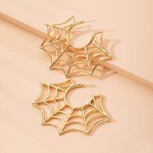 Ohrstecker mit Spinnennetz Dekor