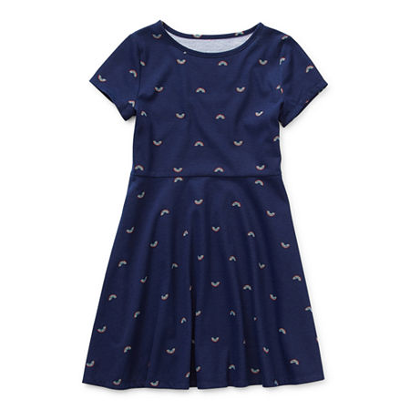 Arizona Little & Big Girls Short Sleeve Skater Dress, Large (14) , Blue
