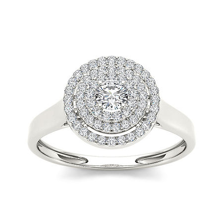 1/2 CT. T.W. Diamond 10K White Gold Engagement Ring, 8 , No Color Family