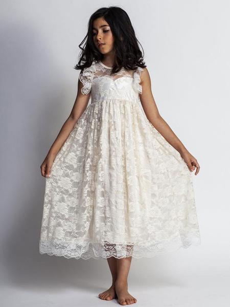 Milanoo Vestidos de niña de flores Encaje Joya Sin mangas Hasta el suelo Una linea Vestidos de fiesta para niños