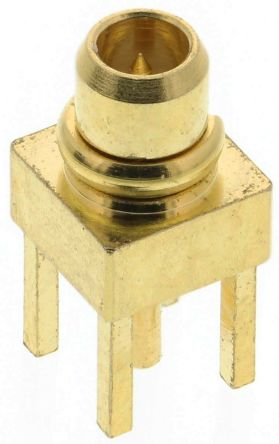 RS PRO Straight 50Ω PCB Mount Coaxial Connector, Plug, Gold, Crimp Termination