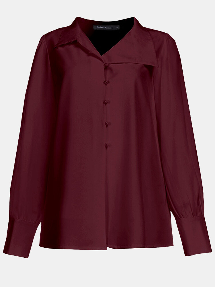 Long Sleeve Solid Color Lapel Button Shirt For Women