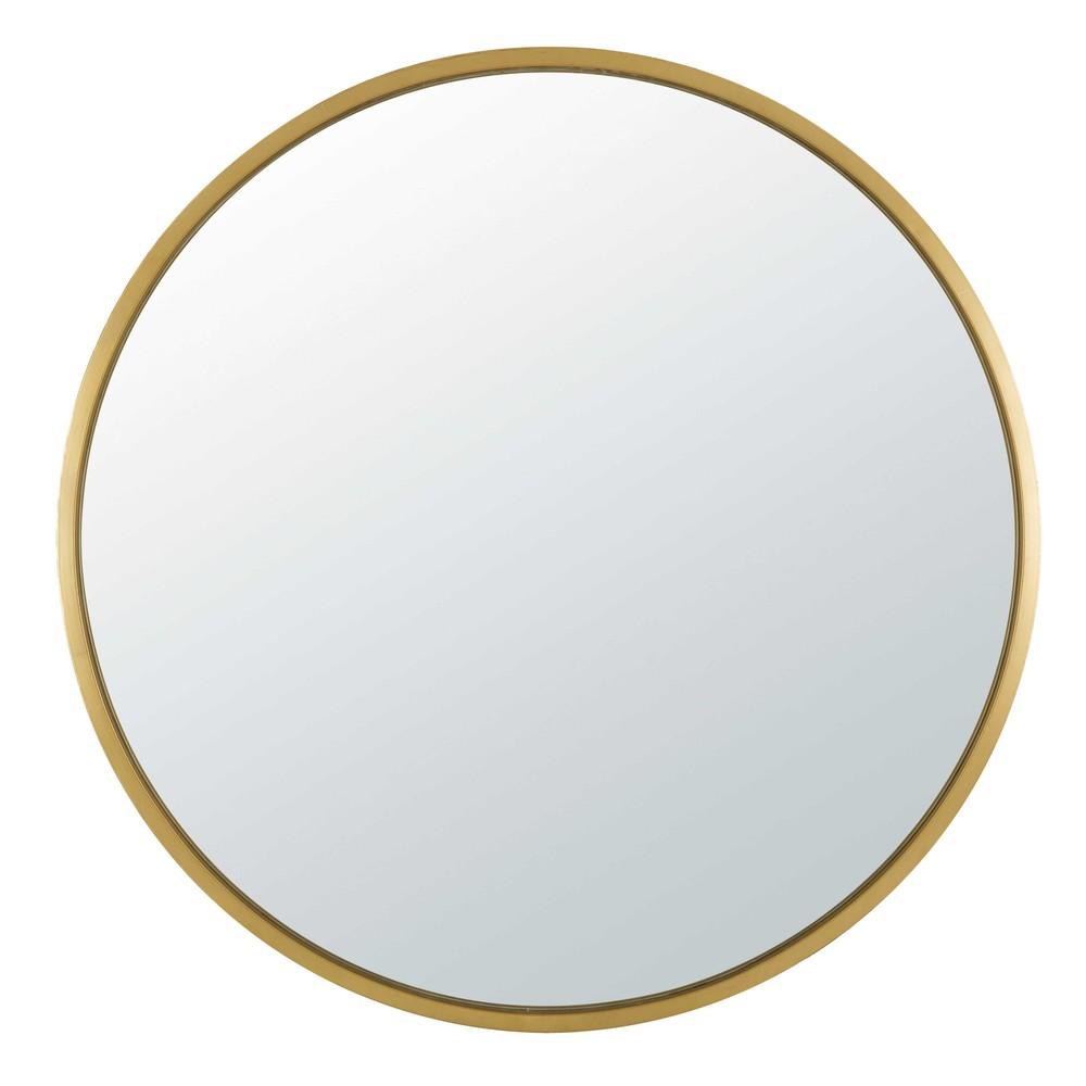 Runder Spiegel aus goldfarbenem Metall D.159 cm