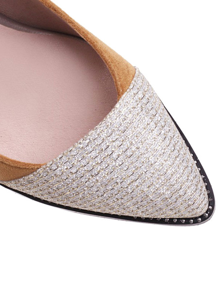 Milanoo Woman\'s High Heels Light Brown Pointed Toe Chunky Heel Suede Slip-On Pumps