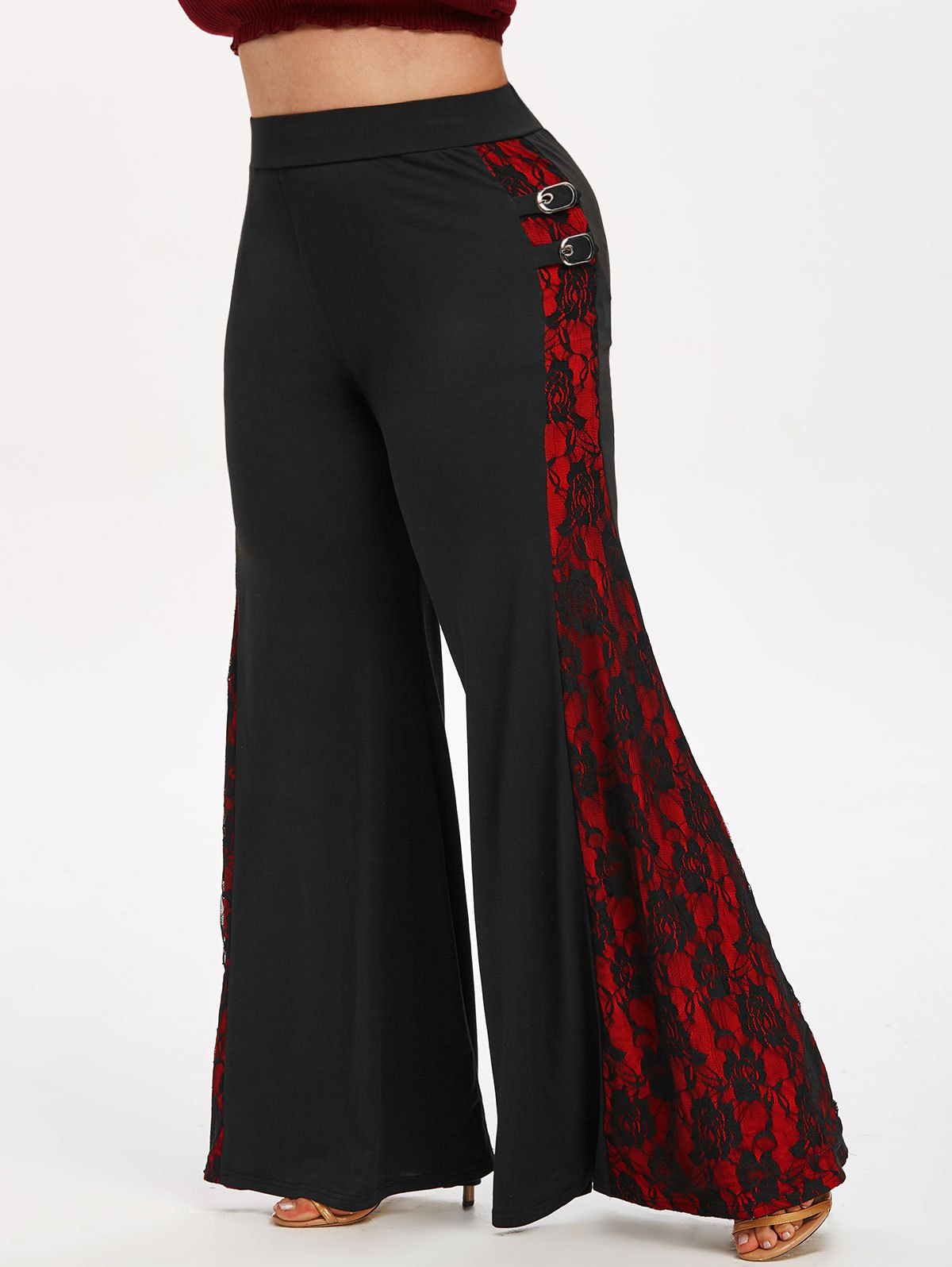 Plus Size Halloween Buckle Lace Insert Flare Pants
