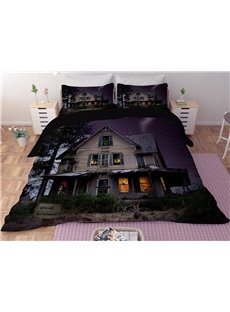 House and Cat's Eye Printing Halloween 3D Polyester 4-Piece Bedding Sets/Duvet Covers