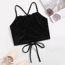 Lace-up Back Velvet Cami